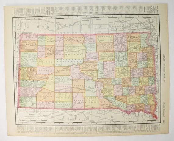 1900 Antique South Dakota Map North Dakota Gift, Vintage Map Gift for  Office, Travel Map Gift for Friend, South Dakota Gift, ND Map SD