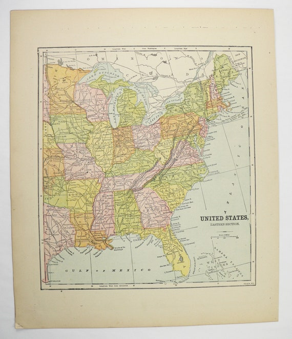 Eastern United States Map 1896 Antique Map, East Coast US Map, Office Art  Gift for Man, Original Vintage Map of US Eastern States