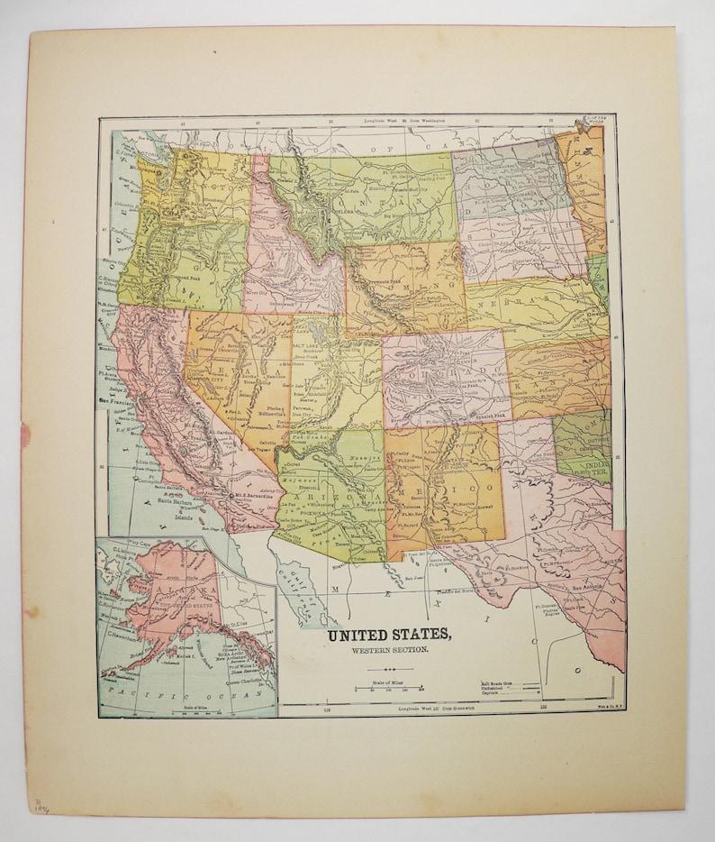 1896 Western US Map Southwestern State Map California | Etsy