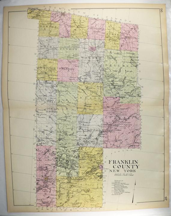 1912 Large Franklin County NY Map, Original Vintage Map, Malone NY Saranac  Lake Gift, Genealogy Research