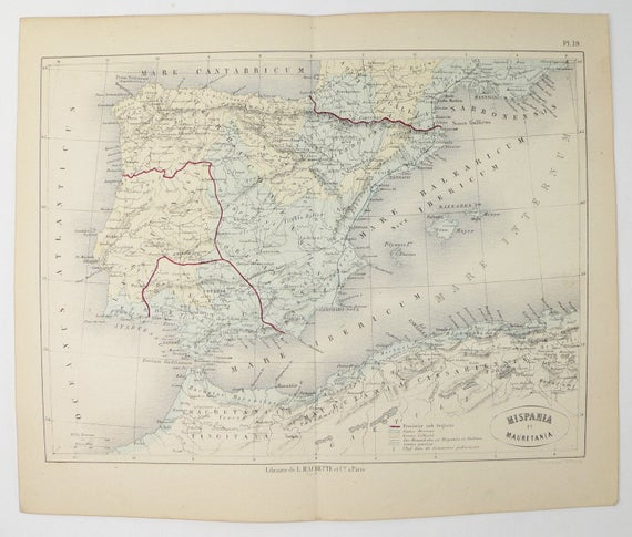 Antique 1865 Spain Map Mauretania Northern Africa Map Etsy