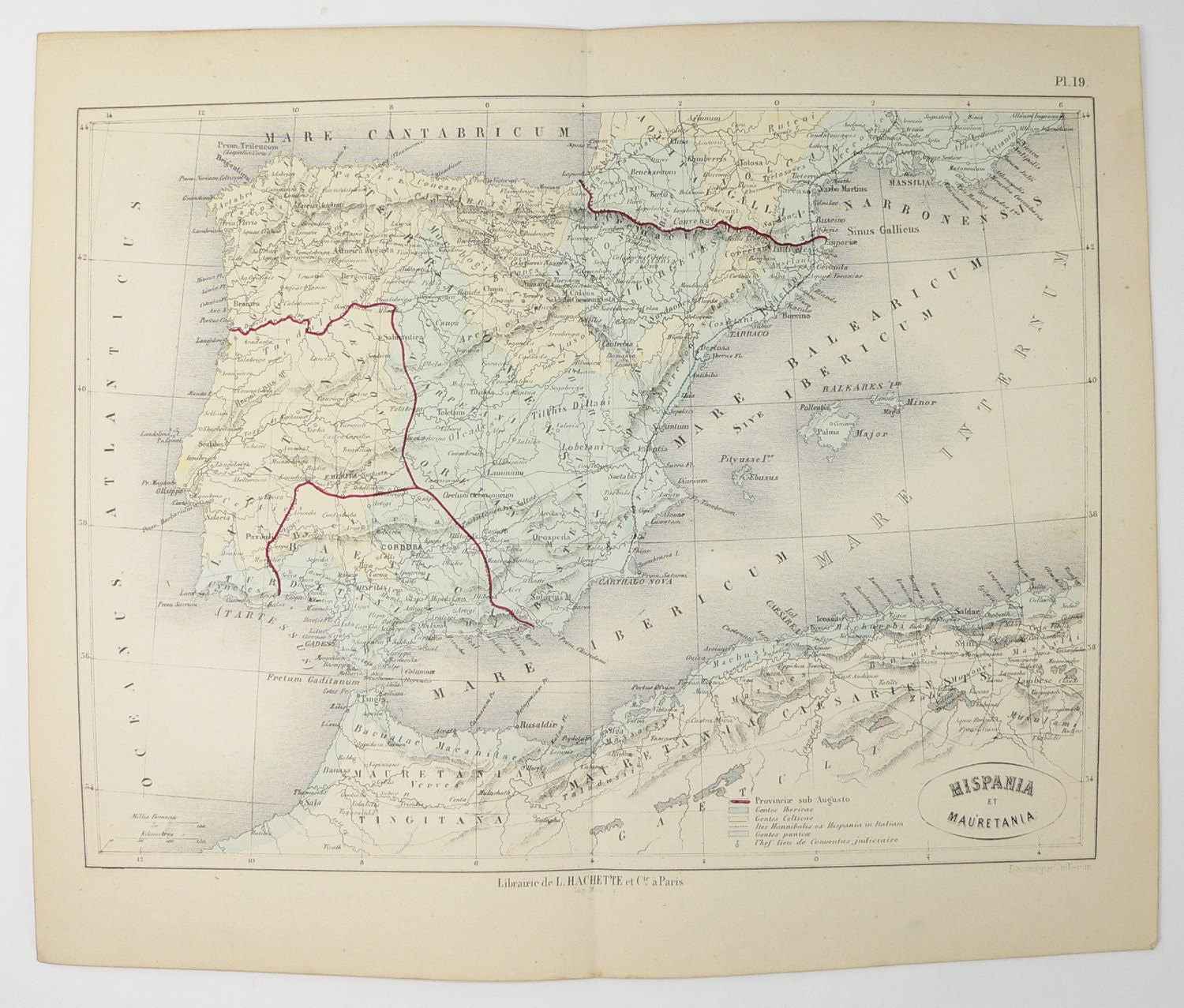 Map Of Spain Coast.Antique 1865 Spain Map Mauretania Northern Africa Map Etsy