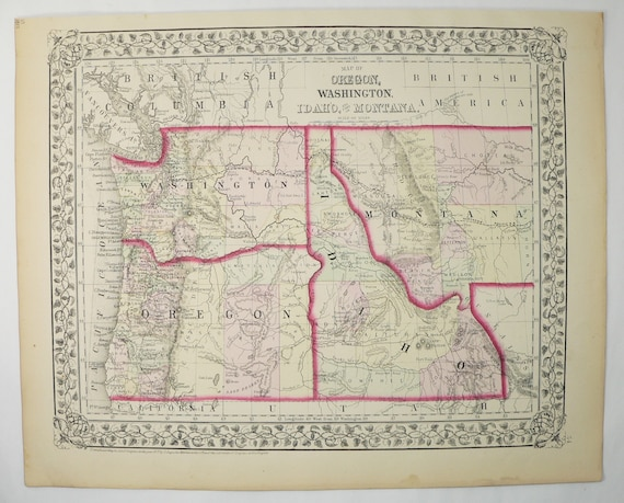 Montana Idaho Map.Antique Washington Map Oregon Idaho Map Montana 1872 Mitchell Etsy