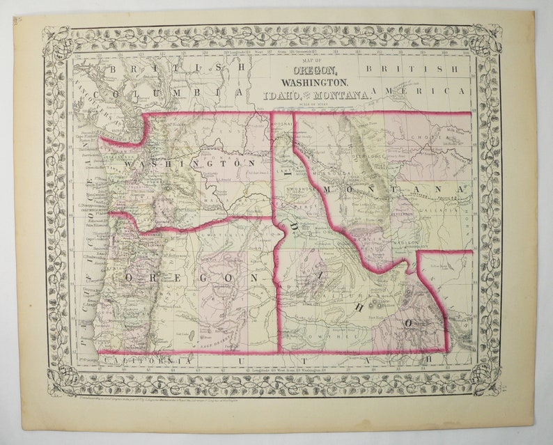Antique Washington Map Oregon Idaho Map Montana 1872 Mitchell Etsy