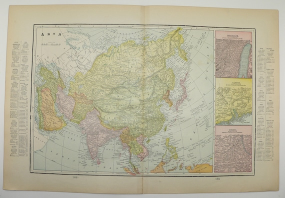 1898 Antique Map of Asia Vintage Map Middle East Far East | Etsy