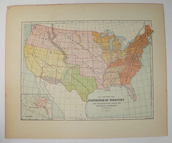 1896 United States Map showing US Territory Growth, Historical Map