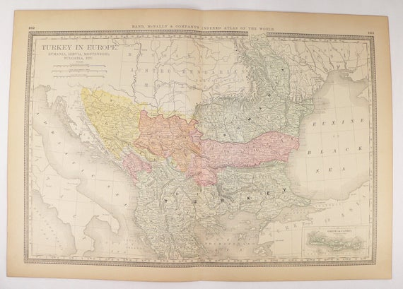 1881 Rand McNally Turkey in Europe Map Balkan Peninsula Map | Etsy