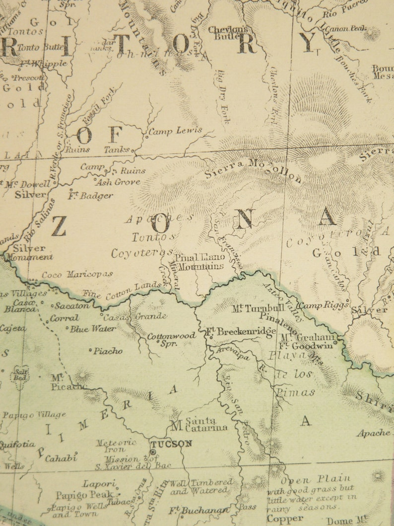 1873 Antique Colorado Map Arizona New Mexico Map Utah Western Us Territory Map Southwestern Decor Gift For Parents Co Map Nm Az Map Ut