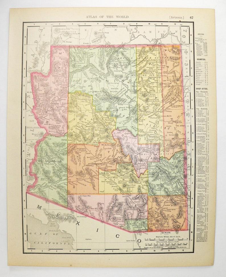 Antique Arizona Map Nevada 1900 Vintage NV Map AZ Arizona | Etsy