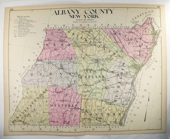 Albany County NY Map New York 1912 Large Map Genealogy History