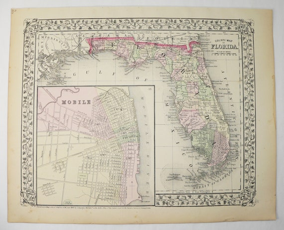 Antique Map Of Florida.1872 Antique Map Florida State Map Vintage Florida Gift Etsy