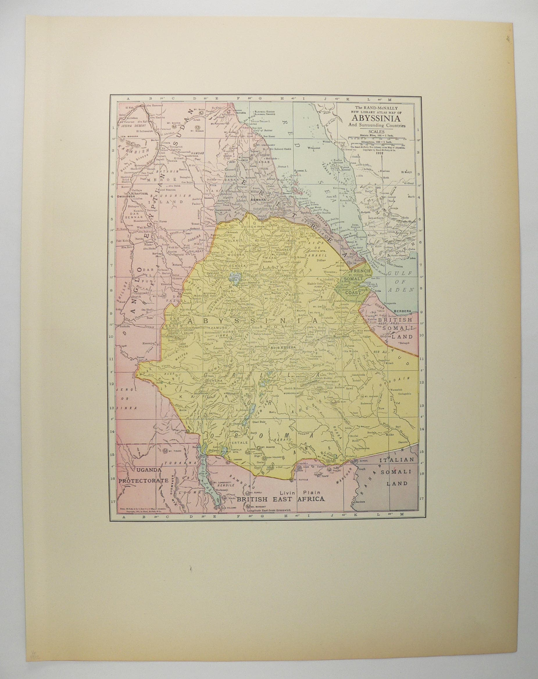 1912 Map of Abyssinia, Ethiopia, Somalia and Sudan Africa, Original Vintage  Map by Rand McNally