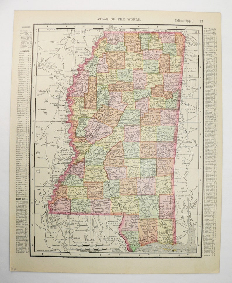 Vintage Mississippi Map with Kentucky and Tennessee Map 1900 Rand McNally on st. louis kentucky map, sharp kentucky map, ky hwy map, rand mcnally home, lexington kentucky map, mapquest kentucky map,