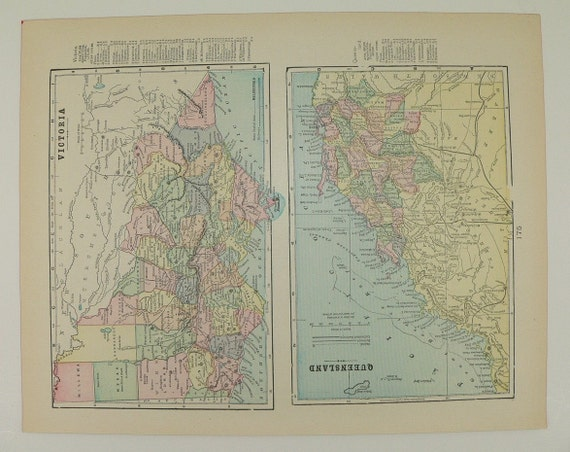 Australia Map 1900.New South Wales Map Victoria Queensland Australia Map 1900 Australia Travel Map Australian Decor Wall Art Australia Gift For Couple