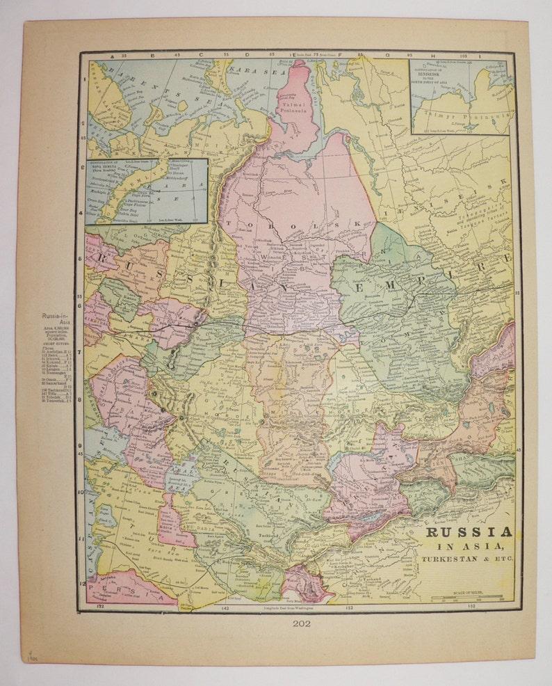 Antique Map Turkestan Russia In Asia Map 1900 Russian Empire Etsy