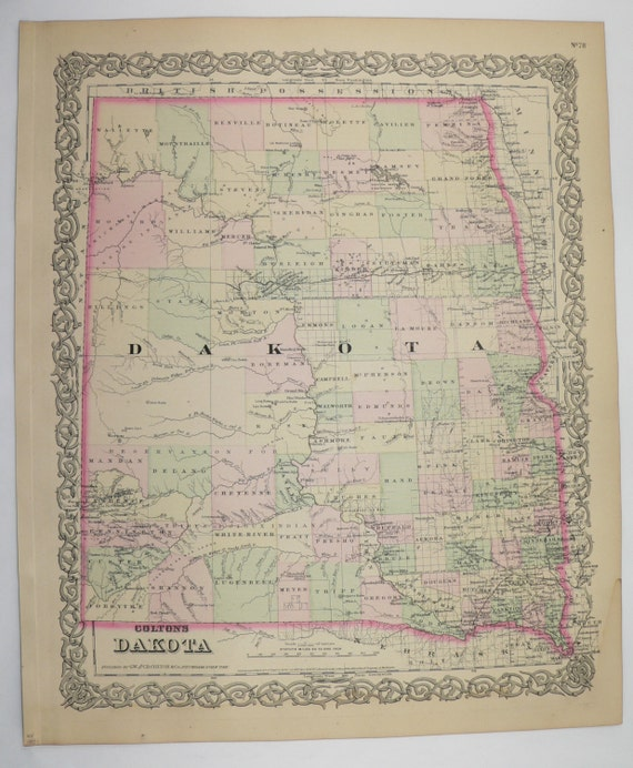 1881 Colton Dakota Territory Map, North Dakota Map South Dakota, Original  Antique Map, Dakota History Buff Gift, Man Cave Art Gift for Him