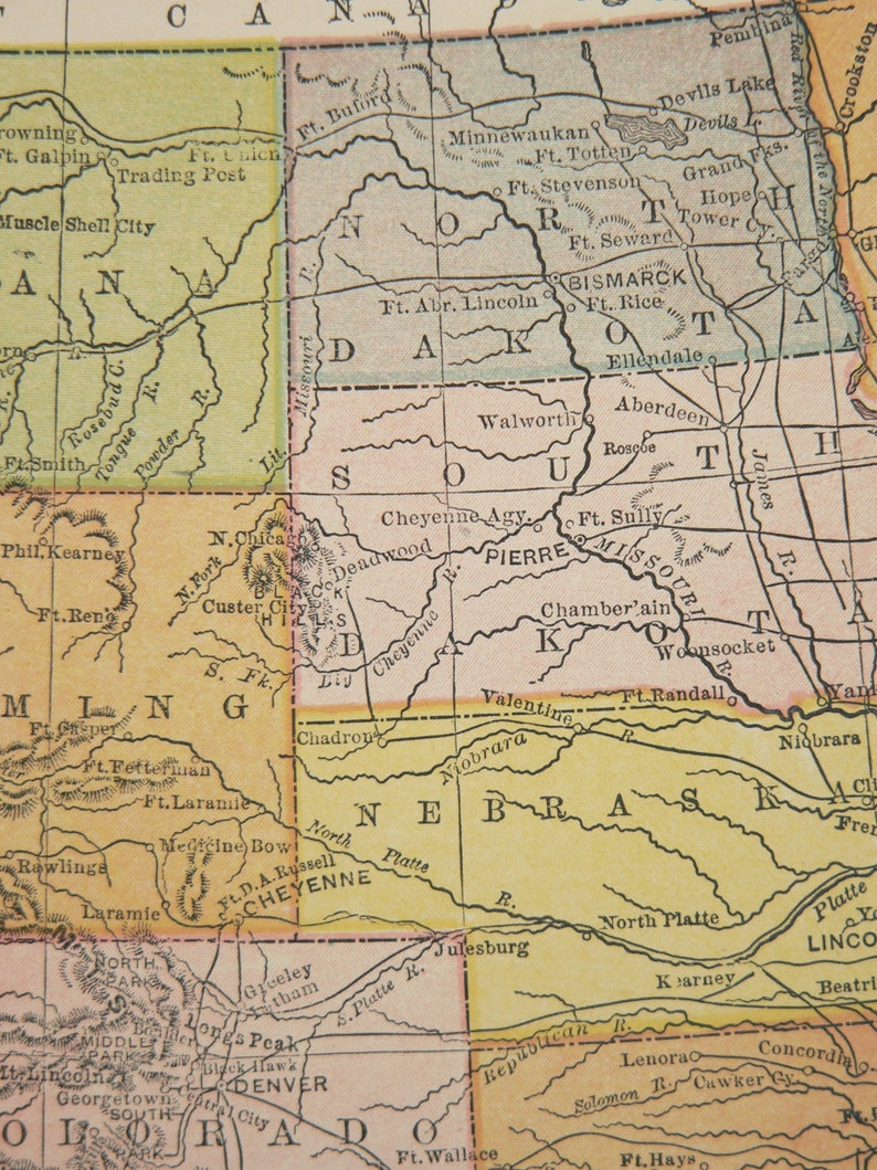 California Washington Map Western United States Southwestern State Map 1896 Western US Map Oregon Wyoming Montana Map Arizona New Mexico