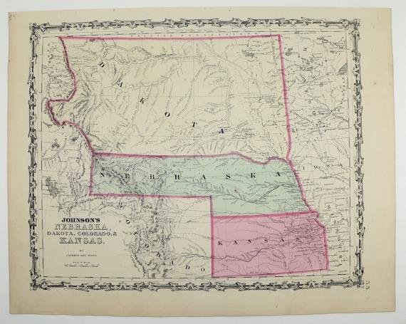 1862 Nebraska Map Kansas South Dakota Map North Dakota | Etsy