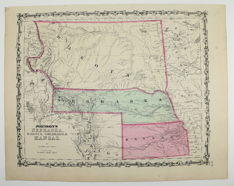 1862 Nebraska Map Kansas South Dakota Map North Dakota | Etsy