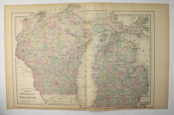1886 Antique Michigan and Wisconsin Map Upper