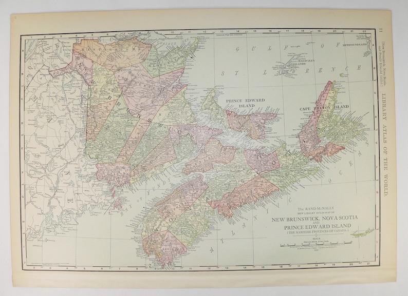 1912 Nova Scotia Map New Brunswick Pei Map 1912 Rand Mcnally Maritime Canada Map Prince Edward Island Map Nova Scotia Gift For Friend