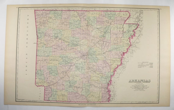 1876 Large Arkansas Map Southern State Map Antique Ar Map Etsy