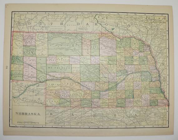 Old Kansas Map.Vintage Nebraska Map Kansas 1898 Midwest State Travel Map Etsy