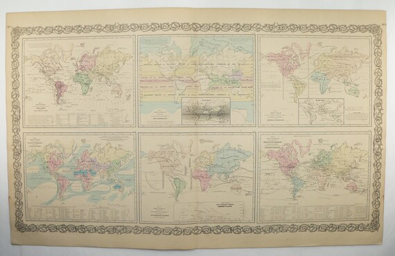 World Map With Currents.1881 Colton World Map Of Weather Meteorology Ocean Currents Etsy
