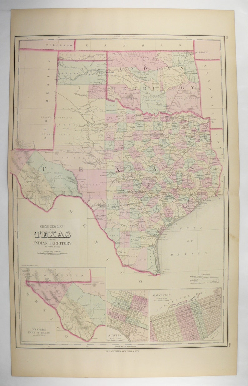 Large Map Of Texas.Large Texas Map Lone Star State Antique Map Of Texas Gift For Couple Vintage Art Map Man Cave Art Gift For Him 1876 O W Gray Map