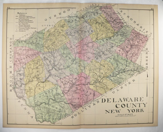 Delaware Counties Map on