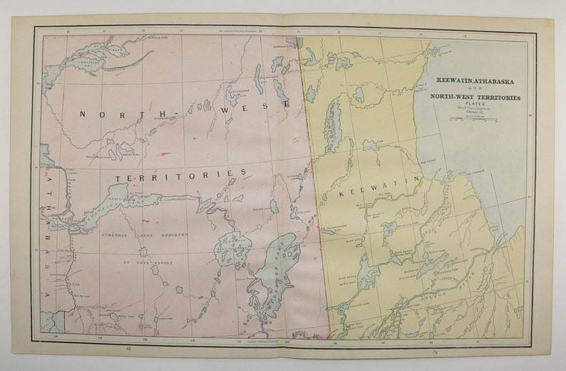 1800s Northwest Territories Map Vintage Nwt Canada Map Keewatin Athabasca 1888 Antique Travel Map Canada Decor Gift Vintage Geography Art
