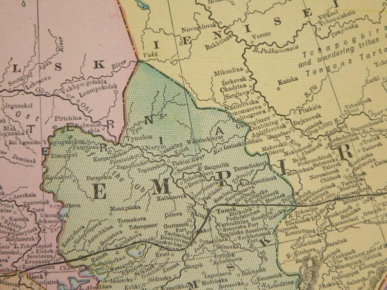 1900 Geographie Geschenk KunstRussische Dekor ReichesJahrgang Antike Asien Karte TurkestanRussland In Russischen rdoCxBe
