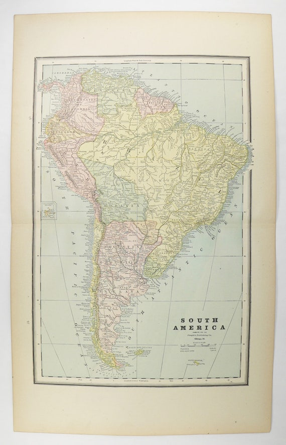 Old South America Map 1888 Antique Map South America, Central America Map,  Latin America Gift for Couple, Housewarming Gift, Alaska Map