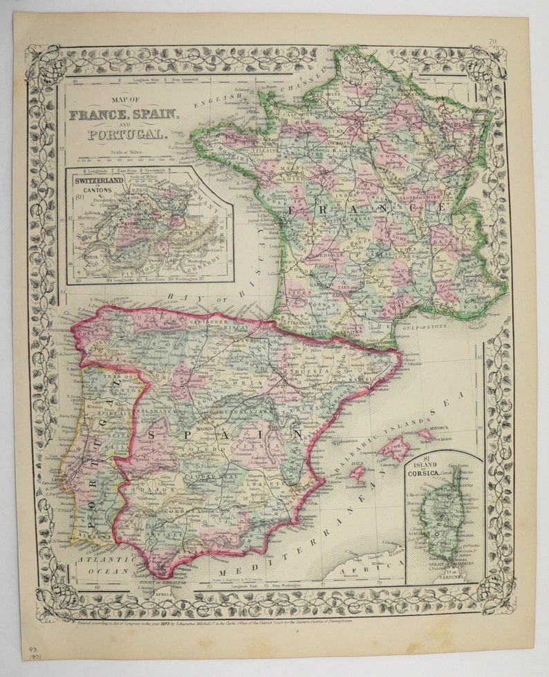 Map Of Spain Portugal And France.Original Vintage Map Of France And Spain Portugal 1871 Etsy