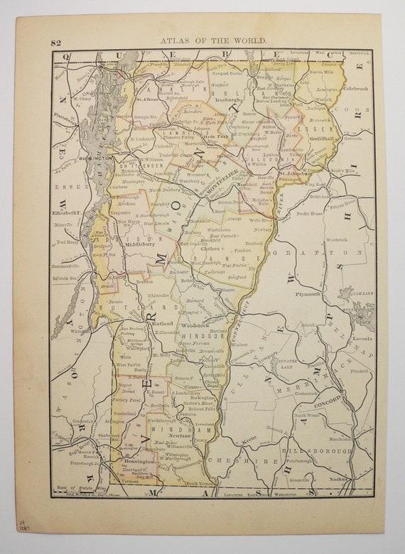 1887 Antique Vermont Map Utah State Map Original Vintage   Etsy
