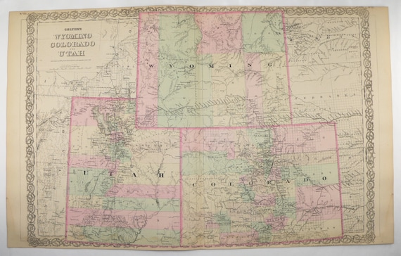 1881 Colton Colorado Wyoming and Utah Map | Etsy