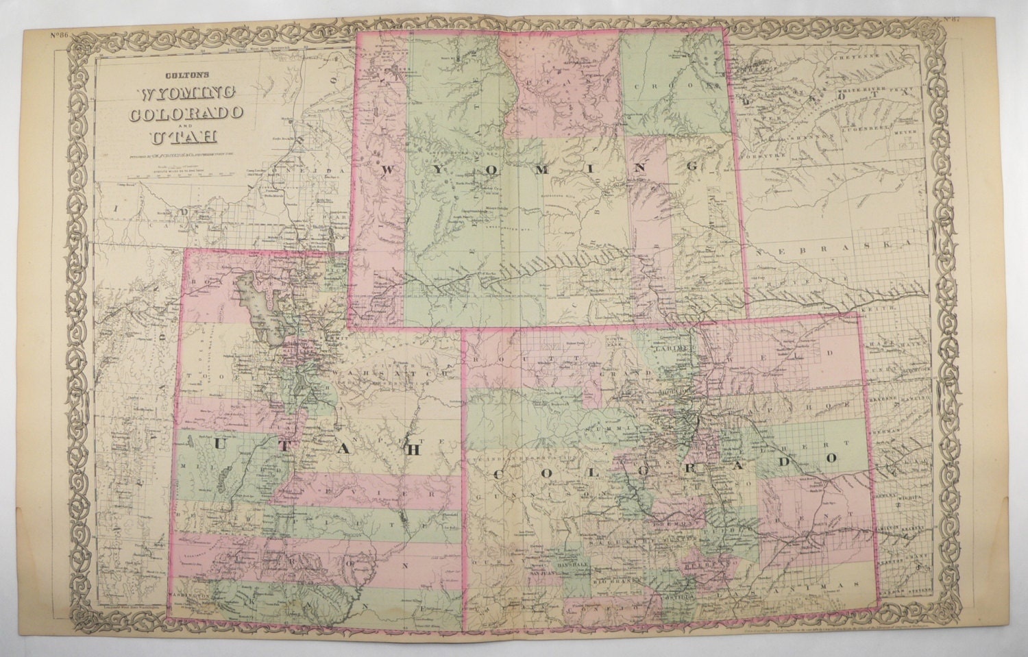 1881 Colton Colorado, Wyoming and Utah Map