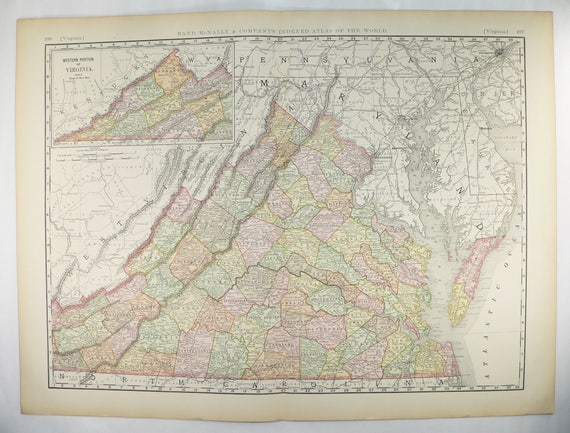 1896 Vintage Virginia Map Very Large Map Virginia State Map Etsy