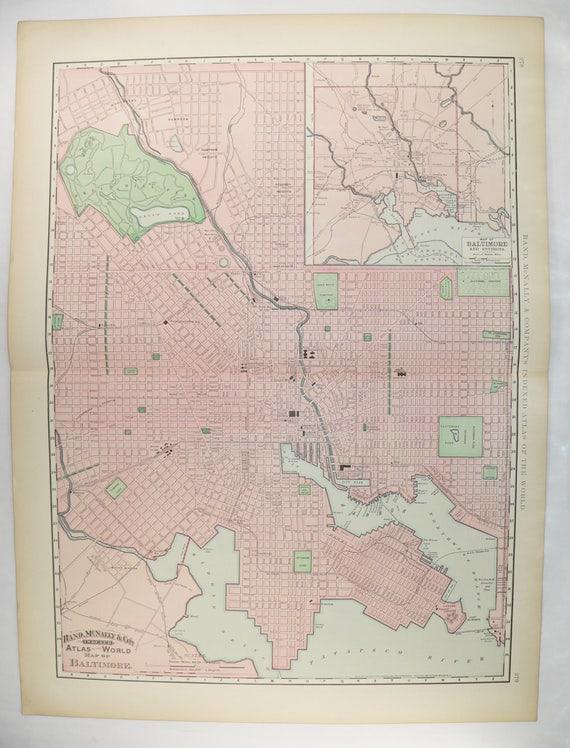 Extra Large Baltimore MD Map 1896 Big Antique Map Baltimore