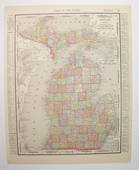 1900 Rand McNally Michigan Map Upper Peninsula Detroit MI | Etsy