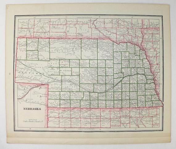 Old Kansas Map.1888 Vintage Nebraska Map Kansas State Map Genealogy Etsy