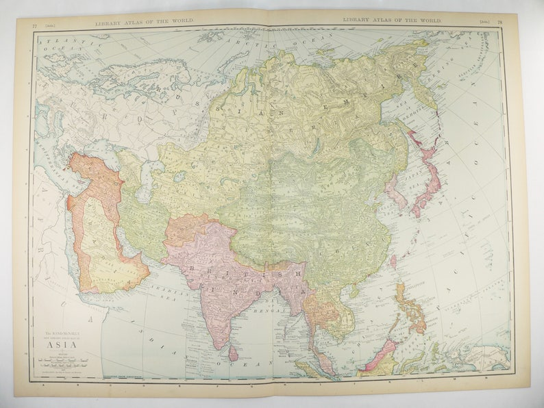 Large Asia Map 1912 Rand McNally Map of Asia Middle East Map | Etsy