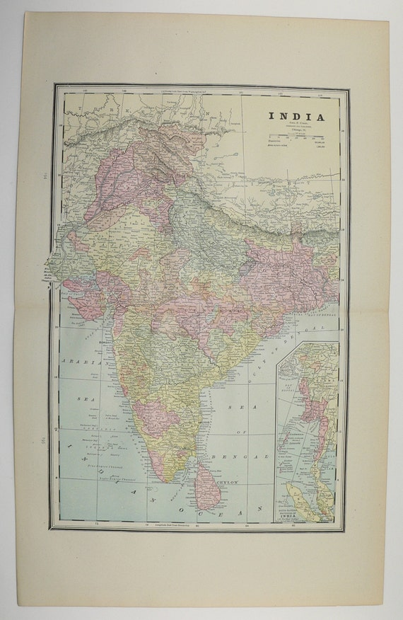 Map Of India And Africa.Antique Map India South Africa Map Ceylon Sri Lanka Map 1888 Etsy