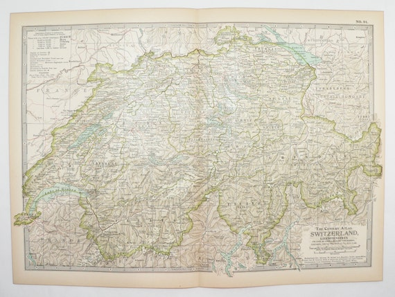 Switzerland Map 1901 Vintage Map, Swiss Alps Mountains, 1st Anniversary  Gift for Couple, European Decor Wall Map, Office Gift for Boss