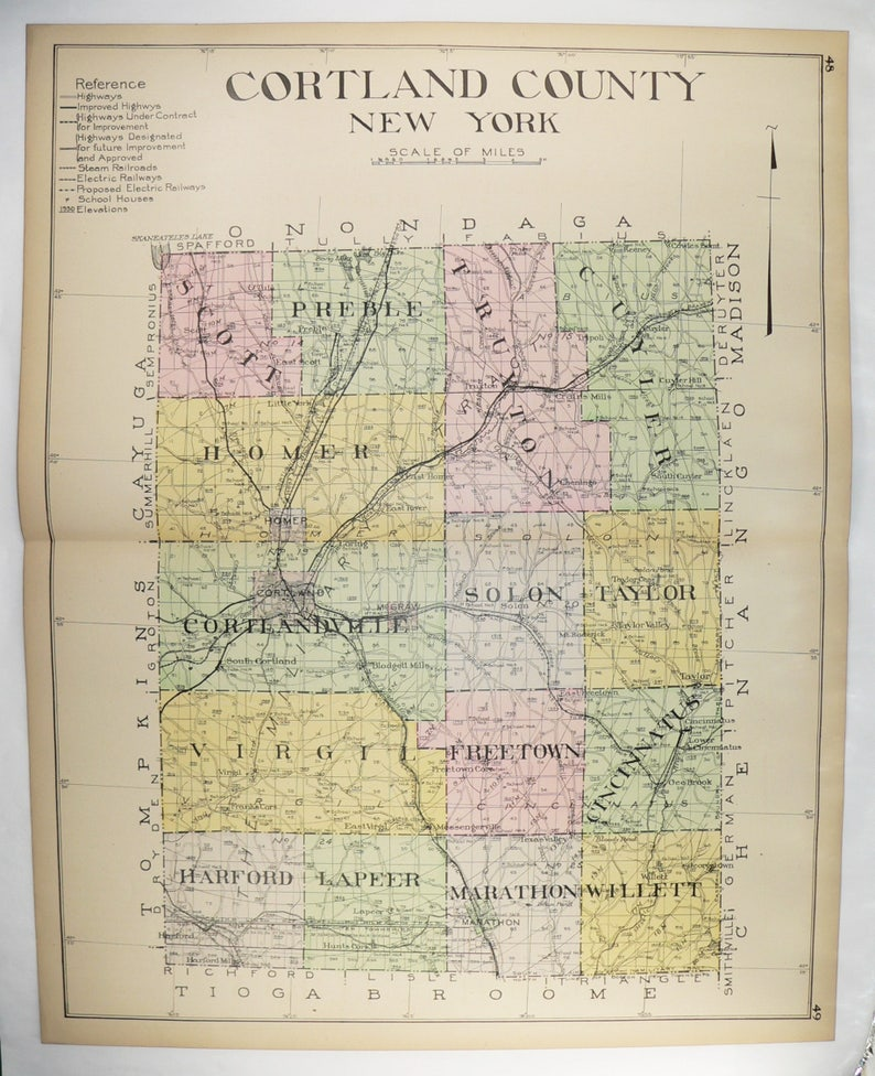 Large Map Cortland County NY Cortland NY Map 1912 New York County Map Homer  NY, Antique Art Gift, Vintage Map, Man Cave Decor Gift for Him