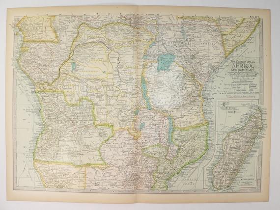 Congo On Africa Map.1899 Century Africa Map Showing Kenya Congo Madagascar Etsy