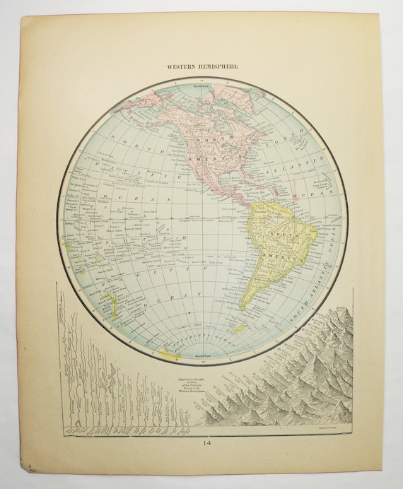 Antique western hemisphere map 1900 vintage world map western gumiabroncs Images