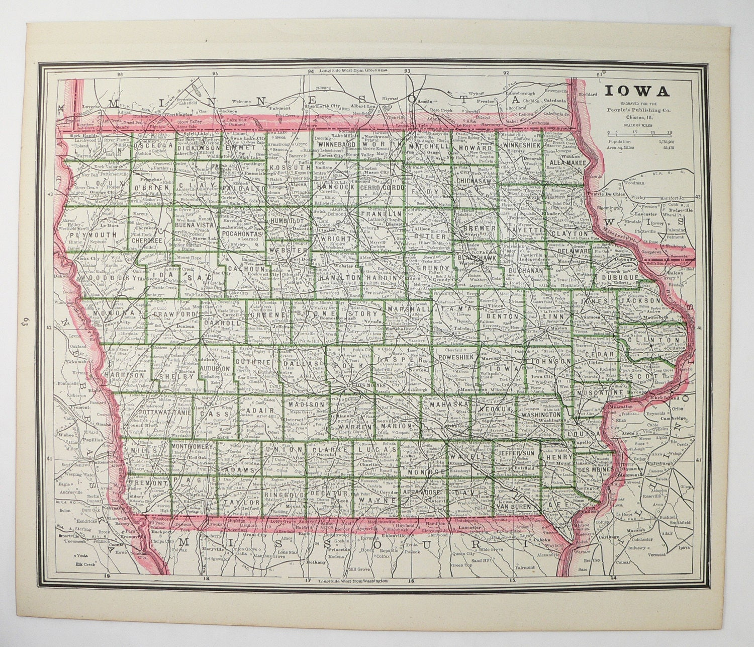 Old Missouri Map Iowa State Map 1888 Vintage Mo Map Ia Etsy