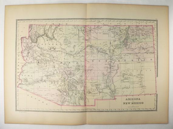 1889 Large Arizona Map, New Mexico Map, Southwest US State Map, Antique Map  of Arizona, AZ NM Map, Southwestern Decor, Vintage Pastel Map