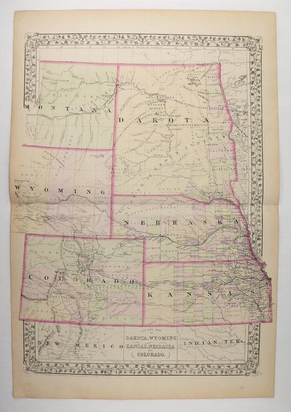 Antique Us Map Colorado Dakota Map Wyoming Nebraska Map Etsy